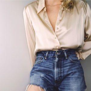 VINTAGE TALBOTS | Cream 100% Silk Button Up Blouse